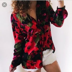 Apt 9 silky floral button down top